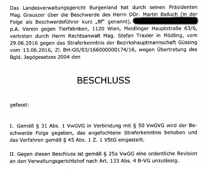 GatterjagdDraskovichLandesverwaltungsgerichtFreispruch1