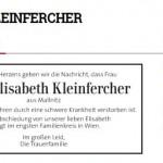 In Memoriam Elisabeth Kleinfercher