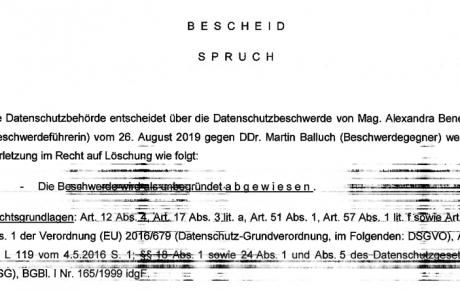 Datenschutzbehörde weist Beschwerde von Mayr-Melnhof-Kronzeugin gegen mich ab